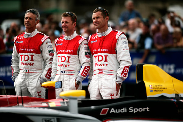 Circuit de La Sarthe, Le Mans, France. 6th - 13th June 2010.Tom Kristensen / Rinaldo Capello / Allan McNish, Audi Sport Team Joest, No 7 Audi R15-Plus TDI. Portrait. World Copyright: Drew Gibson/LAT PhotographicDigital Image _Y2Z0365