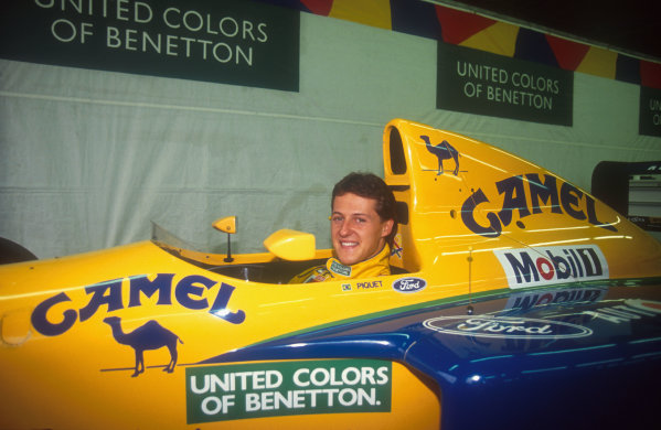 1991 Italian Grand Prix.Monza, Italy.6-8 September 1991.Michael Schumacher (Benetton B191 Ford) 5th position. His first drive for the Benetton team.Ref-91 ITA 11.World Copyright - LAT Photographic