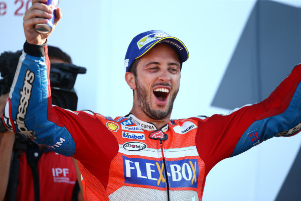 2017 MotoGP Championship - Round 12 Silverstone, Northamptonshire, UK. Sunday 27 August 2017 Podium: race winner Andrea Dovizioso, Ducati Team World Copyright: Gold and Goose / LAT Images ref: Digital Image 1058
