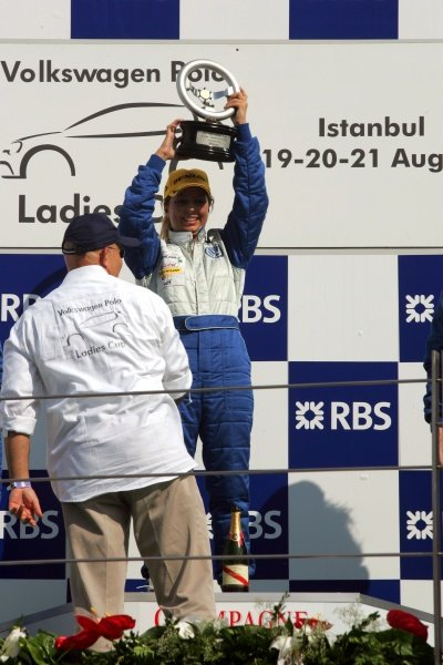 Podium finishers in the VW Polo Ladies Cup race.