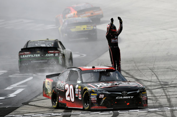 NASCAR Xfinity Series Fitzgerald Glider Kits 300 Bristol Motor Speedway, Bristol, TN USA Saturday 22 April 2017 Erik Jones, Reser's American Classic Toyota Camry celebrates his win with a burnout World Copyright: Nigel Kinrade LAT Images ref: Digital Image 17BRI1nk06994