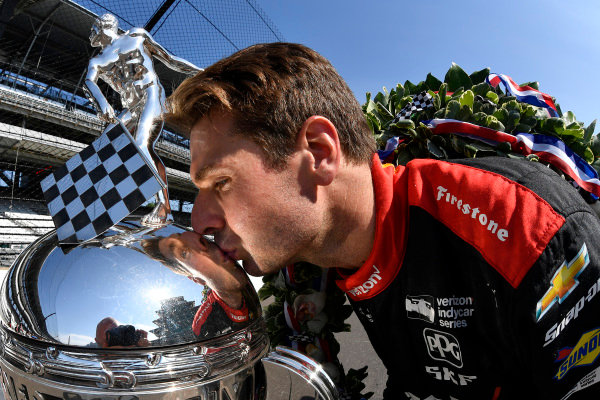Winner, Will Power, Team Penske Chevrolet with Borg-Warner TrophyWinner Will Power, Team Penske Chevrolet and team