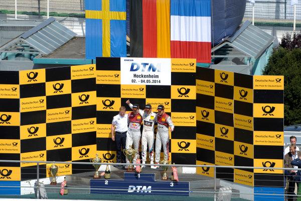 2014 DTM Championship Round 1 - Hockenheim, Germany 3rd - 4th May 2014  Podium, Mattias Ekström (SWE) Audi Sport Team Abt Sportsline, Audi RS 5 DTM, Marco Wittmann (GER) BMW Team RMG, BMW M4 DTM, Adrien Tambay (FRA) Audi Sport Team Abt, Audi RS 5 DTM, World Copyright: XPB Images / LAT Photographic  ref: Digital Image 3083271_HiRes