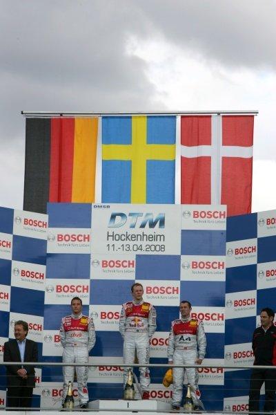 Timo Scheider (GER) Audi Sport Team Abt with Matias Ekstrom (SWE) Audi Sport Team Abt Sportsline and Tom Kristensen (DEN) Audi Sport Team Abt on the podium DTM, Rd 1, Hockenheim, Germany, 12-13 April 2008.