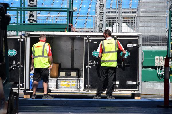 FOM freight is unpacked at Albert Park. Formula One World Championship, Rd1, Australian Grand Prix, Preparations, Albert Park, Melbourne, Australia, Sunday 9 March 2014.