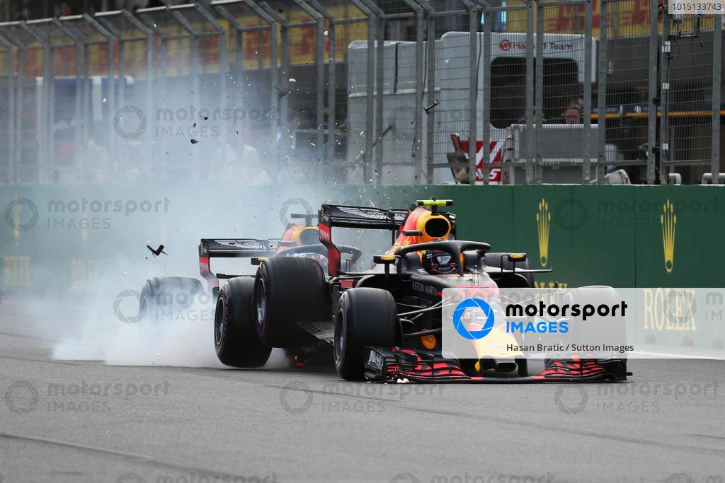 Max Verstappen (NED) Red Bull Racing RB14 and Daniel Ricciardo (AUS) Red Bull Racing RB14 crash