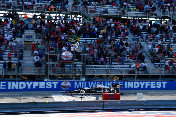 16-17 August, 2014, West Allis, Wisconsin USA Will Power takes the checkered flag to win the race ?2014, Lesley Ann Miller LAT Photo USA