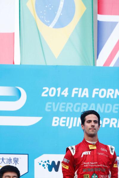 FIA Formula E -  Podium Beijing E-Prix, China Saturday 13 September 2014. Lucas di Grassi (BRA)/Audi Abt Sport - Spark-Renault SRT_01E  Photo: Sam Bloxham/LAT/ Formula E ref: Digital Image _SBL6279