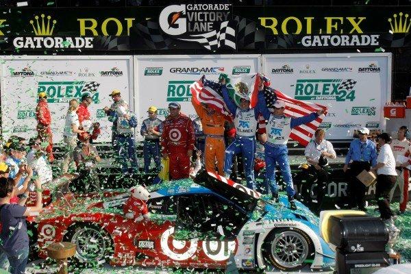 Race winners Scott Dixon (NZL) / Charlie Kimball (USA) / Juan Pablo Montoya (COL) / Scott Pruett (USA) / Memo Rojas (MEX) Chip Ganassi Felix Sabatas celebrate. Rolex 24 at Daytona, Daytona, USA, 24-27 January 2013.