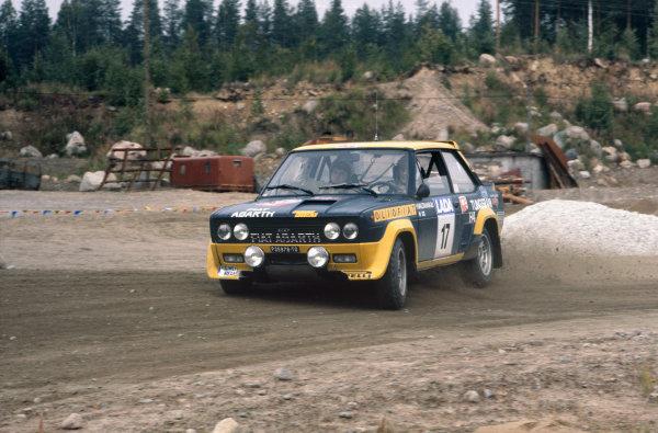 1000 Lakes Rally, Finland. 26-28 August 1977.Hannu Valtaharju/Risto Anttila (Fiat 131 Abarth), retired, action. World Copyright: LAT PhotographicRef: 77RALLY07