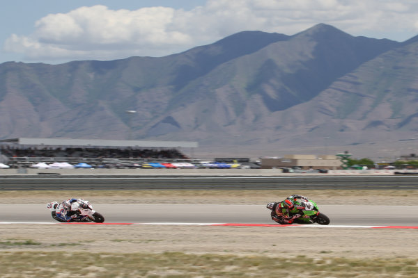 28 May 2012, Miller Motorsports Park, Tooele, Utah USAMarco Melandri, BMW Motorrad Motorsport, Tom Sykes, Kawasaki Racing TeamWorld Copyright: Covy Moore/LAT Photographic