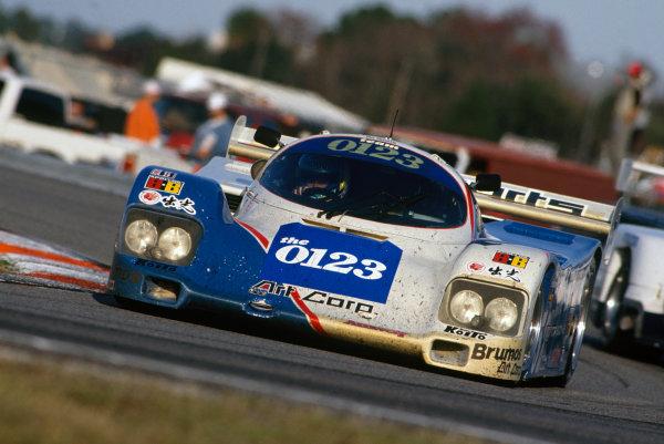 Daytona 24 Hours, Florida, USA. 1st - 2nd February 1992. Hurley Haywood/Eje Elgh/Roland Ratzenberger/Scott Brayton/Vern Schuppan (Porsche 962), 3rd position, action. World Copyright: LAT Photographic. Ref: 92IMSA DAY03.