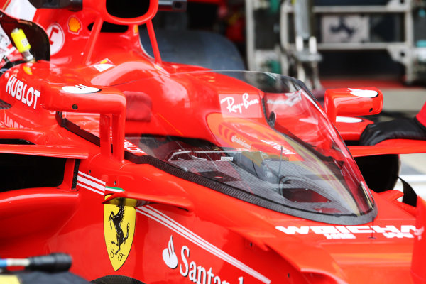 Silverstone, Northamptonshire, UK.  Friday 14 July 2017. Shield frontal protection system fitted to the car of Sebastian Vettel, Ferrari SF70H, for first practice. World Copyright: Charles Coates/LAT Images  ref: Digital Image AN7T4050