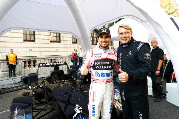 London, United Kingdom.  Wednesday 12 July 2017. Sergio Perez, Force India, with Mika Hakkinen. World Copyright: Steven Tee/LAT Images  ref: Digital Image _O3I9480