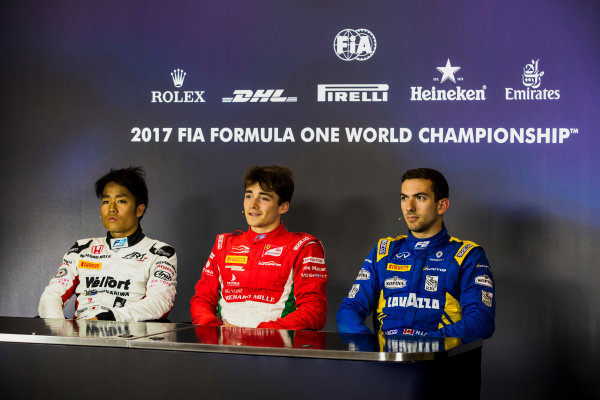 2017 FIA Formula 2 Round 4. Baku City Circuit, Baku, Azerbaijan. Friday 23 June 2017. Nobuharu Matsushita (JPN, ART Grand Prix), Charles Leclerc (MCO, PREMA Racing) and Nicholas Latifi (CAN, DAMS) in the post-qualifying press conference. Photo: Zak Mauger/FIA Formula 2. ref: Digital Image _56I6993