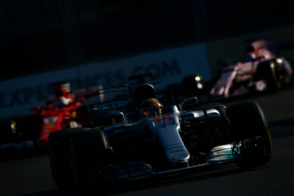 Baku City Circuit, Baku, Azerbaijan. Sunday 25 June 2017. Lewis Hamilton, Mercedes F1 W08 EQ Power+, leads Sebastian Vettel, Ferrari SF70H. World Copyright: Andrew Hone/LAT Images ref: Digital Image _ONY8531