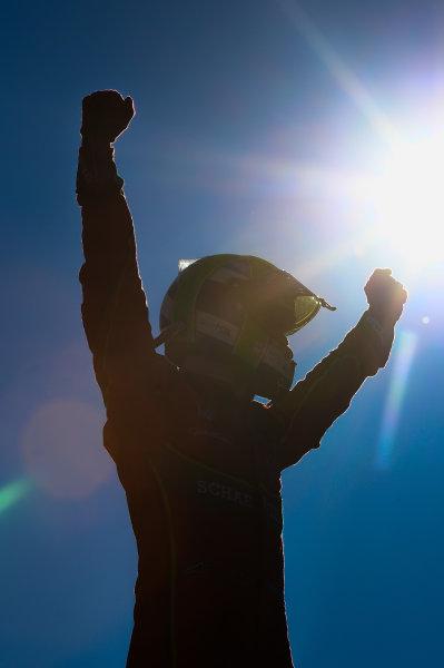 2016/2017 FIA Formula E Championship. Round 11 - Montreal ePrix, Canada Sunday 1 January 2012. Lucas Di Grassi (BRA), ABT Schaeffler Audi Sport, Spark-Abt Sportsline, ABT Schaeffler FE02 celebrates after winning the race. Photo: Patrik Lundin/LAT/Formula E ref: Digital Image PL1_2477 copy