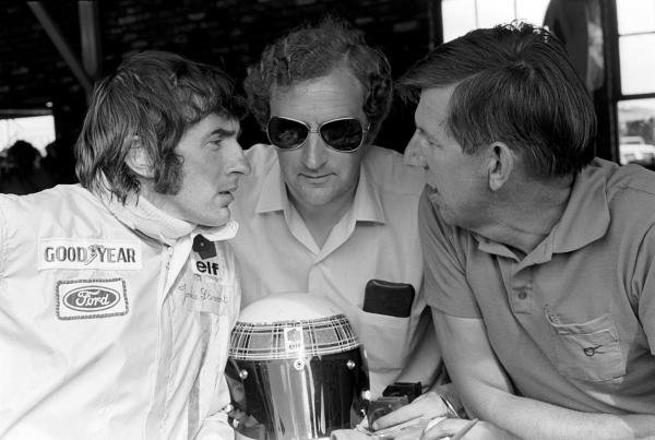 L to R: Jackie Stewart(GBR), Tyrrell designer Derek Gardner(GBR) and Ken Tyrrell(GBR)