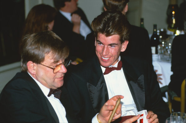 1993 Autosport Awards. Grosvenor House Hotel, Park Lane, London, Great Britain. 5 December 1993. Ralph Firman Jr, wins the Autosport/McLaren Young Driver Award, here with his father, Ralph, portrait.  World Copyright: LAT Photographic. Ref:  Colour Transparency.