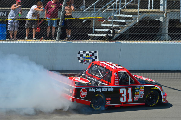 August 16-17, 2013, Brooklyn, Michigan USA James Buescher does his Victory Burnout © 2013, Brian Czobat LAT Photo USA