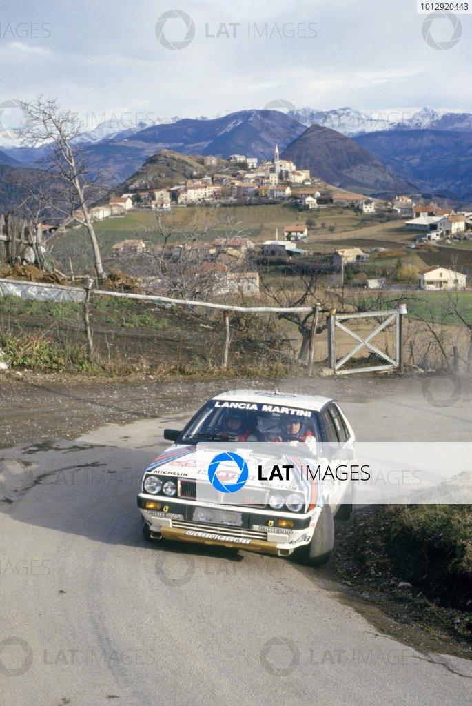 1988 World Rally Championship.Monte Carlo Rally, Monaco. 16-21 January 1988.Miki Biasion/Tiziano Siviero (Lancia Delta HF 4WD), retired.World Copyright: LAT PhotographicRef: 35mm transparency 88RALLY08