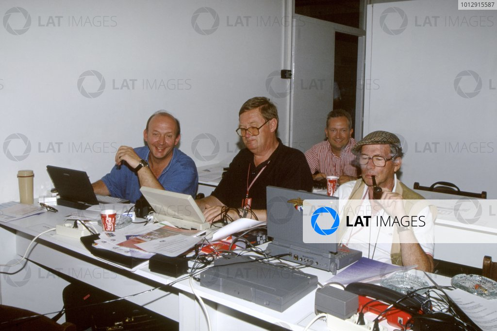 Nigel Roebuck, Alan Henry, Tony Dodgins and Jabby Crombac hard at work in the press room. Portrait. World Copyright: LAT Photographic Ref: 35mm Transparency.