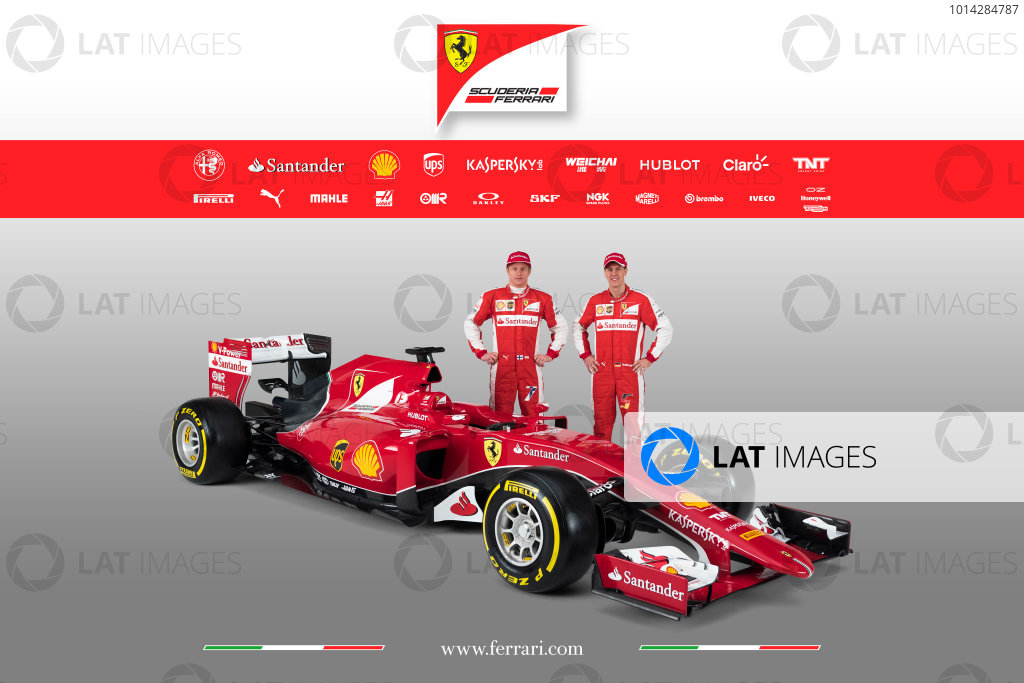 Ferrari SF-15T Reveal 30 January 2015 Sebastian Vettel and Kimi Raikkonen with the new Ferrari SF-15T. Photo: Ferrari (Copyright Free FOR EDITORIAL USE ONLY) ref: Digital Image 150007eve