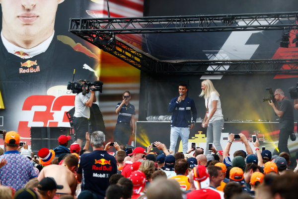 Spa Francorchamps, Belgium.  Saturday 26 August 2017. Pascal Wehrlein, Sauber, on stage in the F1 Fanzone. World Copyright: Sam Bloxham/LAT Images  ref: Digital Image _J6I9131