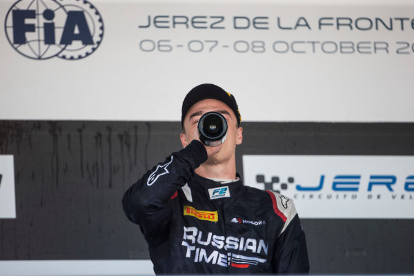 2017 FIA Formula 2 Round 10. Circuito de Jerez, Jerez, Spain. Sunday 8 October 2017. Artem Markelov (RUS, RUSSIAN TIME) on the podium. Photo: Andrew Ferraro/FIA Formula 2. ref: Digital Image _FER3745