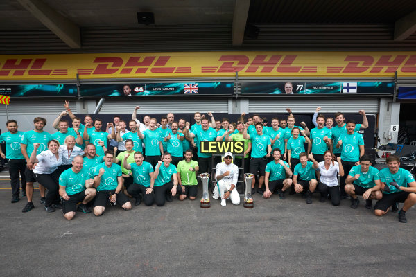 Spa Francorchamps, Belgium.  Sunday 27 August 2017. Lewis Hamilton, Mercedes AMG, 1st Position, celebrates with his team. World Copyright: Steve Etherington/LAT Images  ref: Digital Image SNE10892