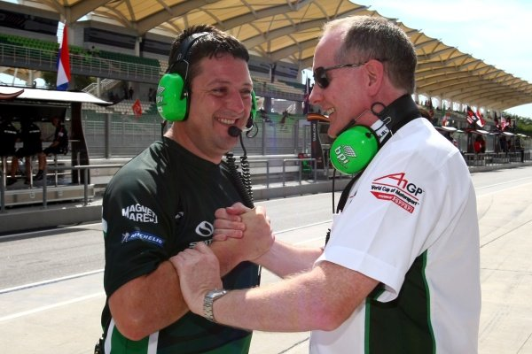 (L top R): Dave O'Neill and Mark Gallagher (IRL), Seat Holder of A1 Team Ireland celebrate pole position in the feature race. A1GP, Rd3, Sepang International Circuit, Kuala Lumpur, Malaysia. Practice, Saturday 22 November 2008.