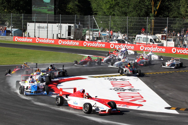 George Katsinis (GRE) Fortec Motorsports leads at the start of the race.