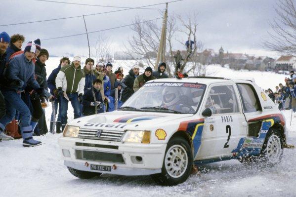 1985 World Rally Championship.Monte Carlo Rally, Monaco. 26 January-1 February 1985.Ari Vatanen/Terry Harryman (Peugeot 205 Turbo 16), 1st position.World Copyright: LAT PhotographicRef: 35mm transparency 85RALLY01