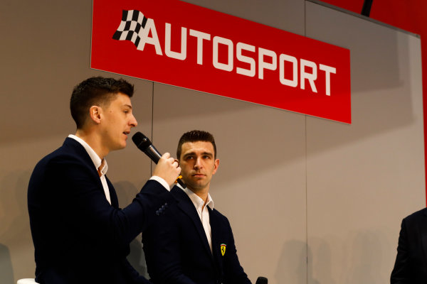 Autosport International Exhibition. National Exhibition Centre, Birmingham, UK. Thursday 11th January 2017. Ferrari FIA WEC Champions, James Calado and Alessandro Pier Guidi, are interviewed by Henry Hope-Frost, on the Autosport Stage.World Copyright: Ashleigh Hartwell/LAT Images Ref: _O3I7617