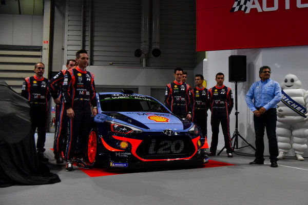 Autosport International Exhibition. National Exhibition Centre, Birmingham, UK. Thursday 11th January 2017. The Hyundai team, including Thierry Neuville, Andreas Mikkelsen, Dani Sordo, Hayden Paddon and team manager Michel Nandan, unveil their 2018 WRC challenger.World Copyright: Mark Sutton/Sutton Images/LAT Images Ref: DSC_7303