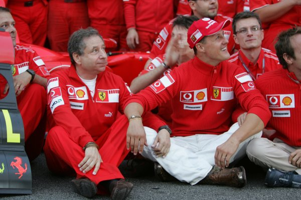 2006 Brazilian Grand Prix - Sunday Race Interlagos, Sao Paulo, Brazil. 19th - 22nd October 2006. The Ferrari team say goodbye to Michael Schumacher after the 7 times World Champion retires, portrait. World Copyright: Lorenzo Bellanca/LAT Photographic ref: Digital Image MU4Z4373