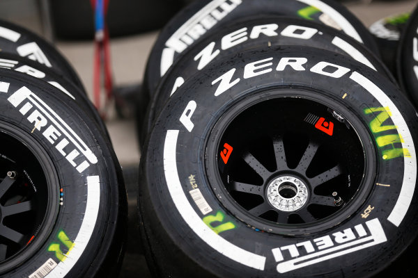 Suzuka Circuit, Suzuka, Japan.  Saturday 26 September 2015. Tyres ready for use. World Copyright: Alastair Staley/LAT Photographic ref: Digital Image _R6T1461