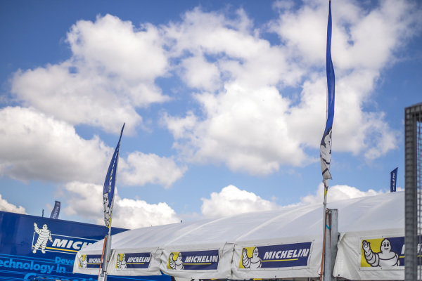 Michelin flags in the service park at FIA World Rally Championship, Rd7, Lotos 71st Rally Poland, Preparations & Shakedown, Mikolajki, Poland, Thursday 2 July 2015.