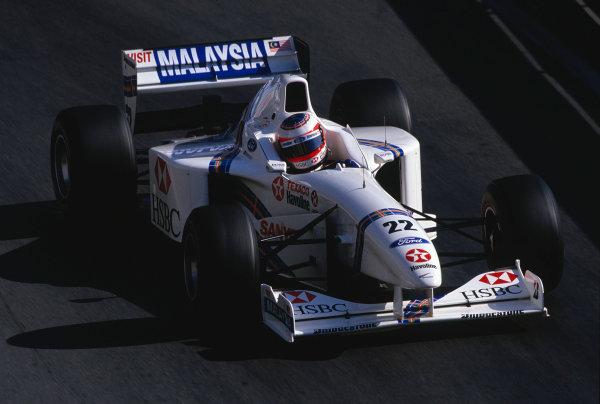 Monte Carlo, Monaco. 8-11 May 1997.Rubens Barrichello (Stewart SF1 Ford).Ref-97 MON 46.World Copyright - LAT Photographic