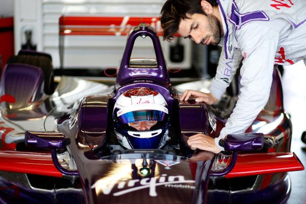 FIA Formula E Test Day, Donington Park, UK.  9th - 10th July 2014.  Sam Bird and Jaime Alguersuari, Virgin Racing. Photo: Glenn Dunbar/FIA Formula E ref: Digital Image _89P5139