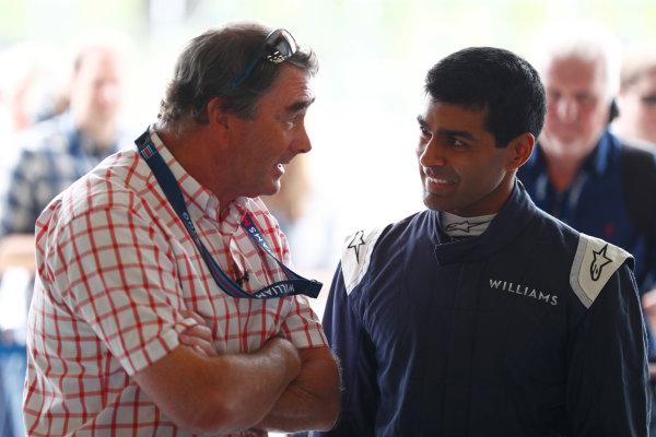 Williams 40 Event Silverstone, Northants, UK Friday 2 June 2017. Nigel Mansell talks to Karun Chandhok. World Copyright: Sam Bloxham/LAT Images ref: Digital Image _J6I6850