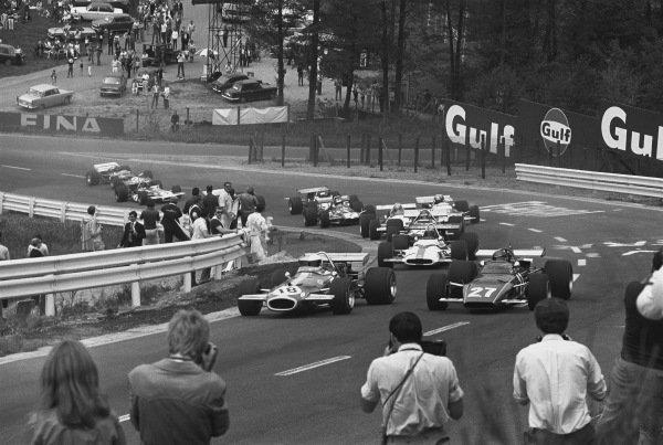 1970 Belgian Grand Prix. Spa-Francorchamps, Belgium. 5th - 7th June 1970. Jack Brabham (Brabham BT33-Ford), retired, leads Jacky Ickx (Ferrari 312B), 8th position, through Eau Rouge, action.  World Copyright: LAT Photographic. Ref: 3130 - 30A.