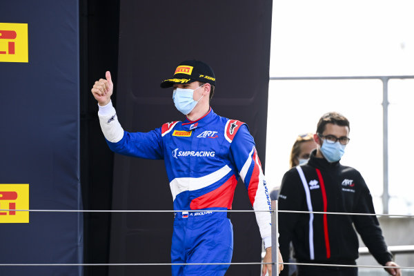Race Winner Alexander Smolvar (RUS, ART GRAND PRIX) celebrates on the podium