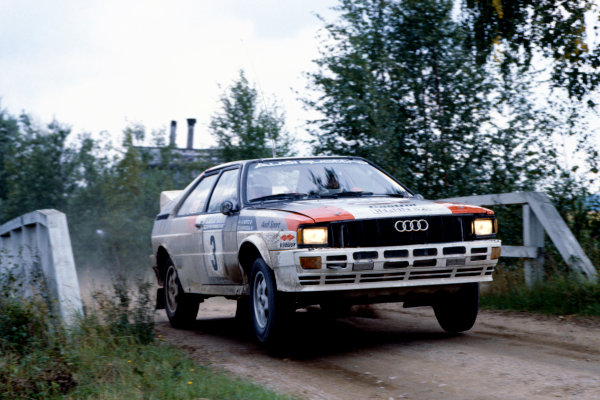 1000 Lakes Rally, Finland. 27-29 August 1982.Hannu Mikkola/Arne Hertz (Audi Quattro), 1st position, action.World Copyright: LAT PhotographicRef: 35mm transparency 82RALLY01