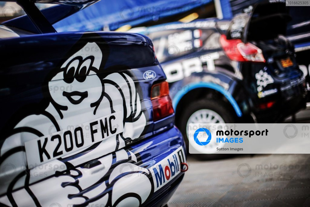 Ford Escort WRC and the car of Mads Ostberg (NOR) / Ola Floene (NOR), M-Sport World Rally Team Ford Fiesta WRC at FIA World Rally Championship, Rd8, Neste Oil Rally Finland, Preparations, Jyvaskyla, Finland, 27 July 2016.