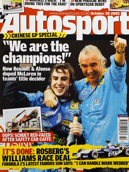 Cover of Autosport magazine, 20th October 2005