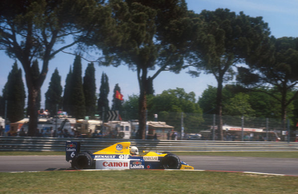 1990 San Marino Grand Prix.Imola, Italy.11-13 May 1990.Riccardo Patrese (Williams FW13B Renault) 1st position.Ref-90 SM 05.World Copyright - LAT Photographic