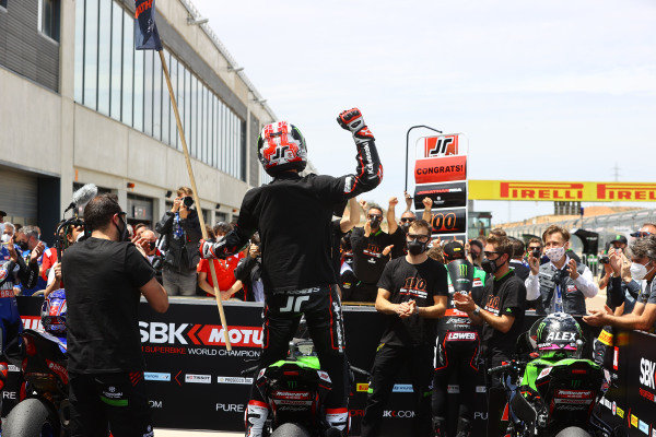 Jonathan Rea, Kawasaki Racing Team WorldSBK celebrates winning 100 WorldSBK races.