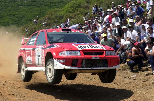 2001 World Rally Championship.Acropolis Rally June 14-17, 2001.Tommi Makinen flies on stage 16.Photo: Ralph Hardwick/LAT