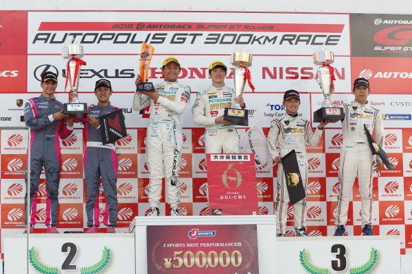 GT300 winner Hiroki Yoshimoto & Ritomo Miyata ( #60 SYNTIUM LMcorsa RC F GT3 ) 2nd position Seiji Ara & Alex Palou ( #720 McLaren 720S ) 3rd position Takashi Kogure & Yuya Motojima ( #88 MANEPA LAMBORGHINI GT3 )